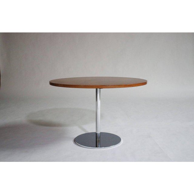 Occasional or side table design by Hugh Acton in chrome steel and walnut top.