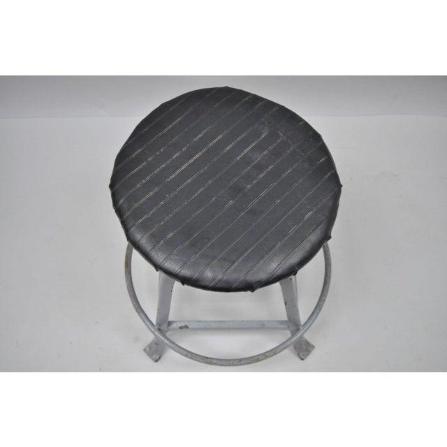 Antique American Industrial Grey Steel Metal Adjustable Work Stool For Sale - Image 4 of 10