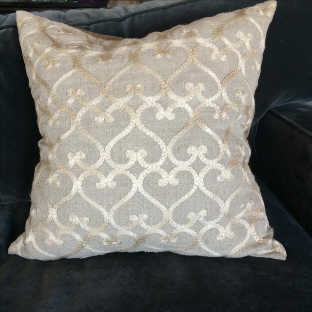Embriordered Linen Geometric Pillow - Image 2 of 5