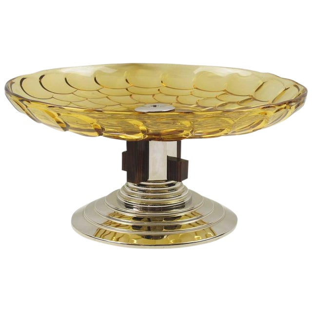 French Art Deco Yellow Glass Chrome Macassar Centerpiece Bowl For Sale