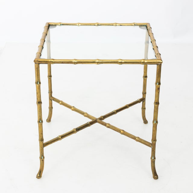 French 1960s Hollywood Regency Solid Brass Faux Bamboo Side Table For Sale - Image 3 of 11