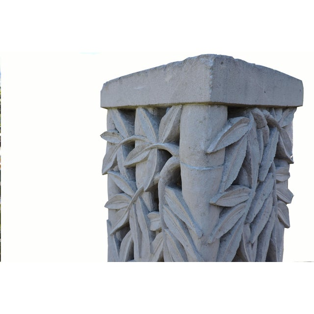 Art Deco Balinese Carved Stone Pedestal With Bamboo Motif For Sale - Image 3 of 5