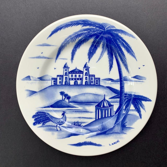Late 20th Century Hand-Painted Italian Ceramic Blue and White Plates - Set of 3 For Sale - Image 5 of 12