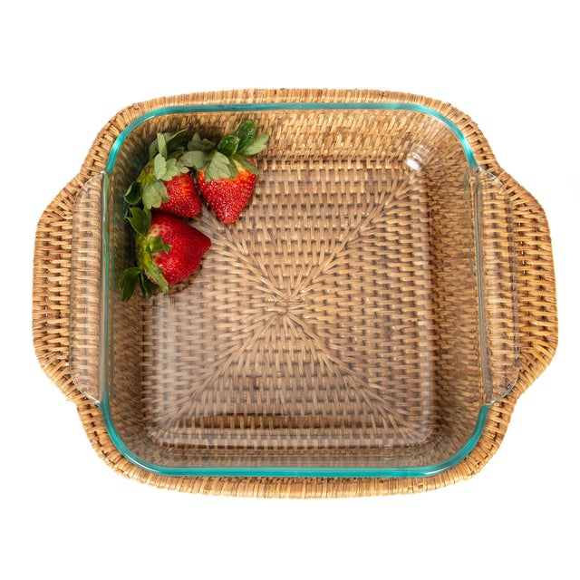 Artifacts Rattan Square Pyrex Holder For Sale - Image 4 of 6