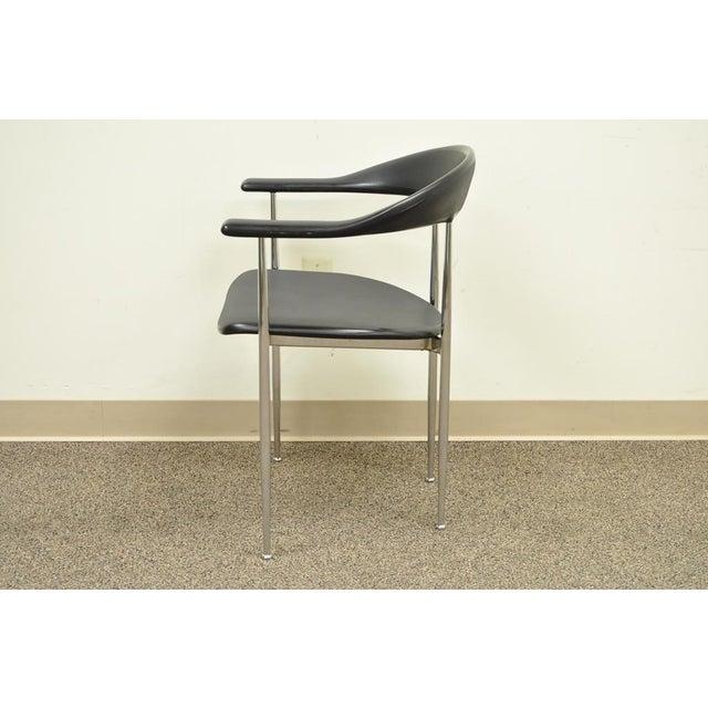 Italian Vintage Mid Century Modern Fasem Chrome & Molded Vinyl Italian Desk Arm Chair For Sale - Image 3 of 11