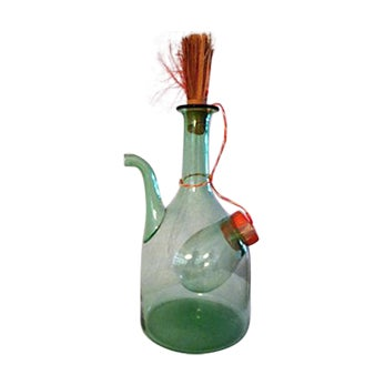 Vintage Italian Green Blown Glass Wine Carafe - Image 1 of 8