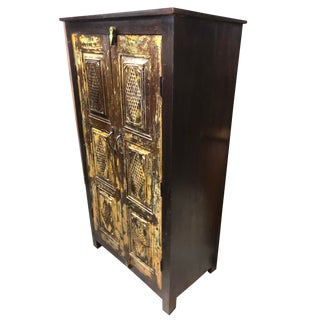 1920s Farmhouse Rustic Dark Brown Antique Cabinet Armoire For Sale