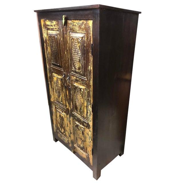 1920s Farmhouse Rustic Dark Brown Antique Cabinet Armoire For Sale