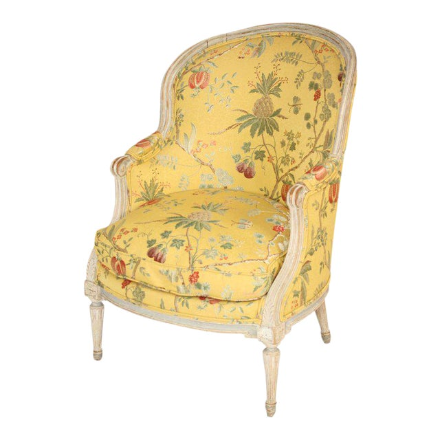 Antique Louis XVI Style Painted Bergere - Image 1 of 11
