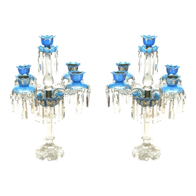 Pair of French Victorian Baccarat Crystal Candelabras For Sale