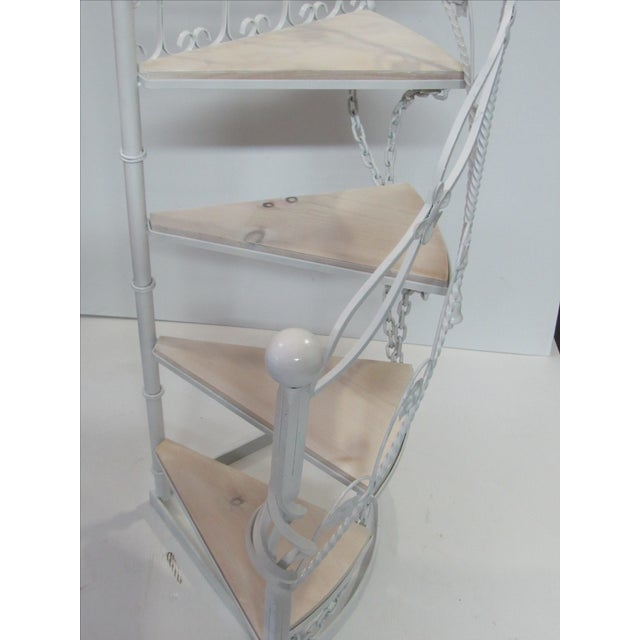 White Wrought Iron Garden Staircase Planter Display For Sale - Image 8 of 9