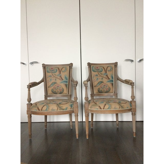 Modern Louis XVI Style Open Arm Chairs- a Pair For Sale - Image 9 of 9