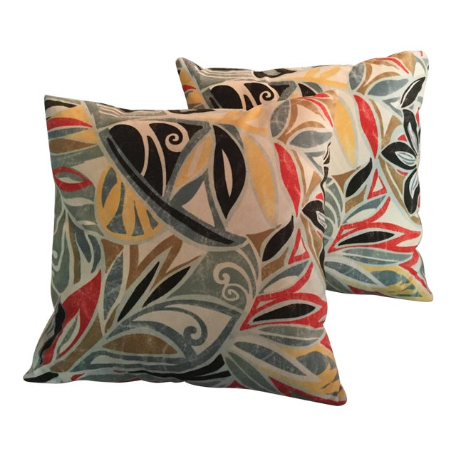 Mid-Century Modern Ultra Suede Pillows - a Pair For Sale