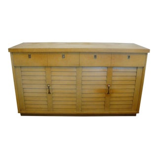 50s Mid-Century Modern Louver Dresser Lowboy Credenza Blonde Finish For Sale