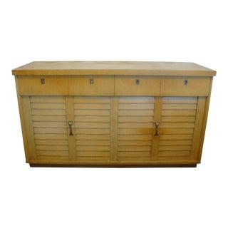 Midcentury Modern Louver Dresser Lowboy Credenza Blonde Finish 1950s For Sale