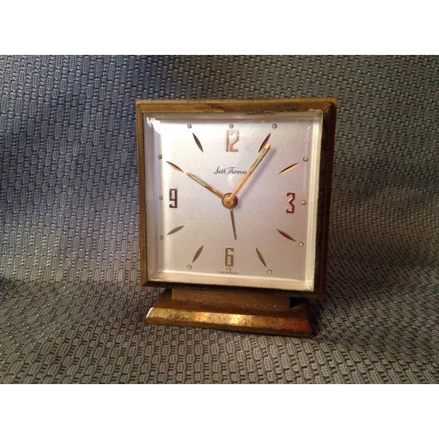 A mid-century Seth Thomas square clock for your desk, mantle, or side table.