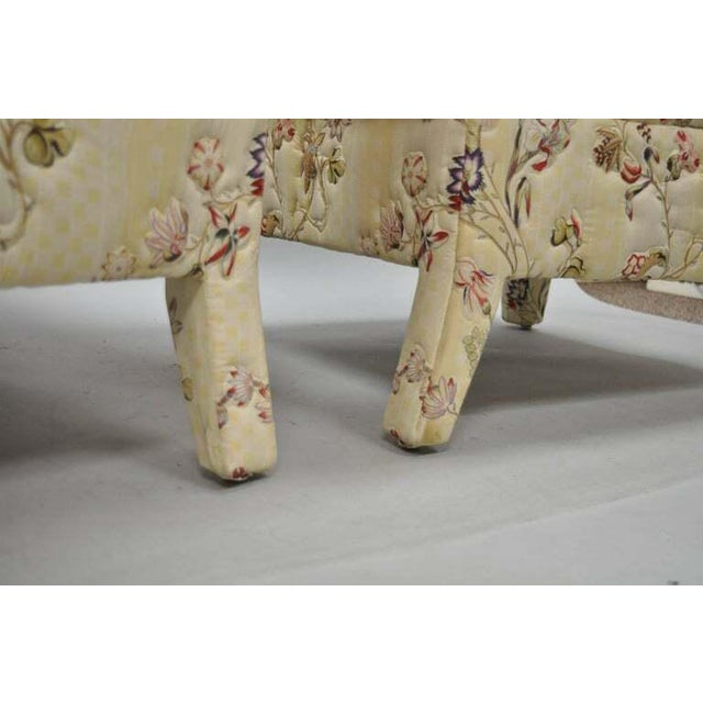 White Vintage Upholstered Chinoiserie Slipper Lounge Chairs- A Pair For Sale - Image 8 of 11