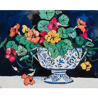 Nasturtiums in Blue-And-White Delft Bowl Winter Floral Still Life Painting For Sale