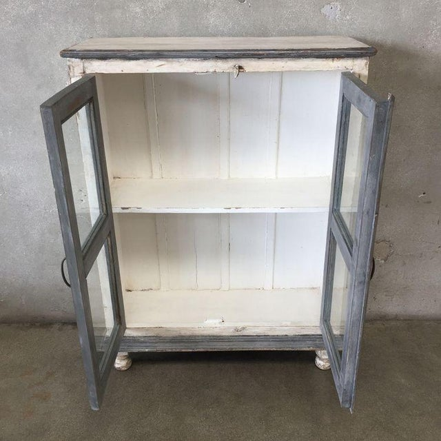 distressed gray white media cabinet bookshelves for sale image 5 - Media Cabinet With Bookshelves
