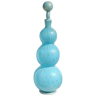 Alfredo Barbini Murano Blue Gold Flecks Italian Art Glass 1950s Bottle Decanter For Sale