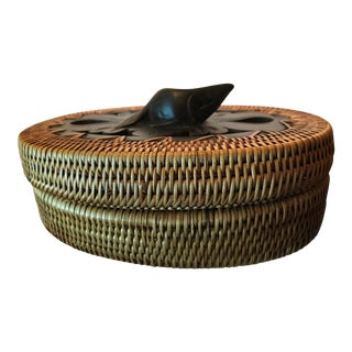 Inuit Basket With Carved Lid For Sale