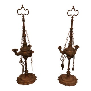 Brass Whale Oil Candelabra Lamps - a Pair
