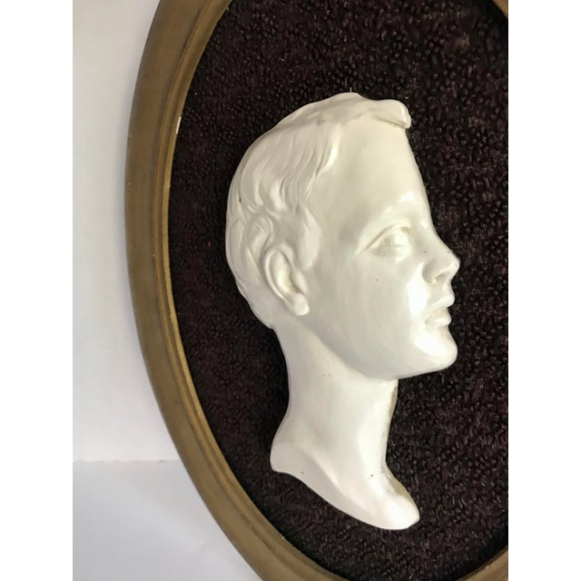 English Vintage Framed Cameo Portrait Art of Young Boy For Sale - Image 3 of 5
