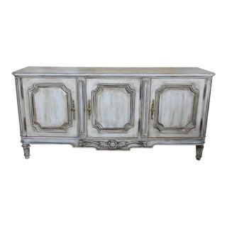 French Country Shabby Chic Style Painted and Distressed Credenza For Sale