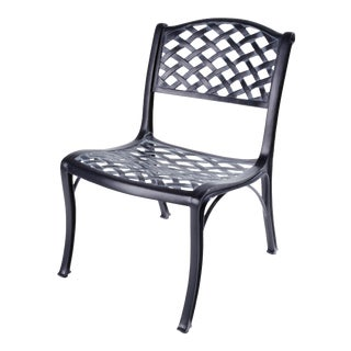 Crossweave Armless Outdoor Chair in Black For Sale