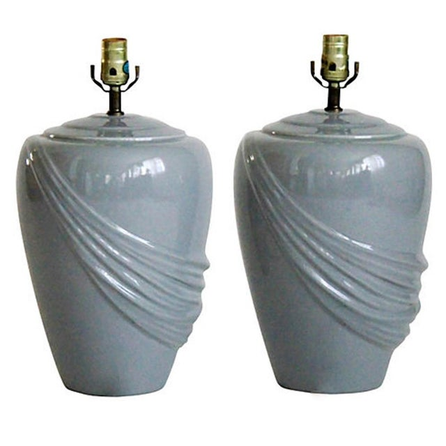 Mid-Century Modern Vintage Draped Gray Lamps - A Pair For Sale - Image 3 of 6