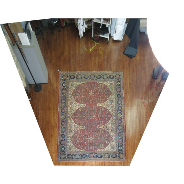 Mid-Century Modern Shabby Chic Persian Sultanabad Rug 9'3'' X 12'6'' For Sale - Image 3 of 9