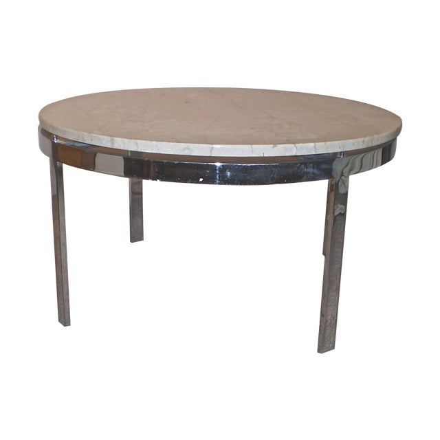 Chrome Base Stone Top Coffee/Side Table - Image 1 of 5