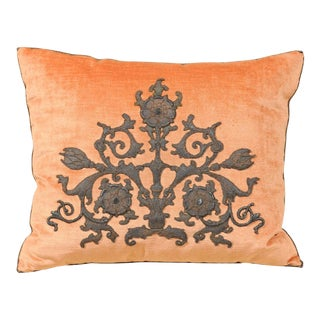 Melon Velvet Pillow with Tarnished Silver Metallic Scrollwork Applied Embroidery For Sale