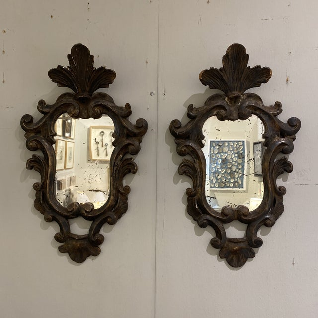 Vintage Wooden Shield Mirrors - a Pair For Sale - Image 9 of 11