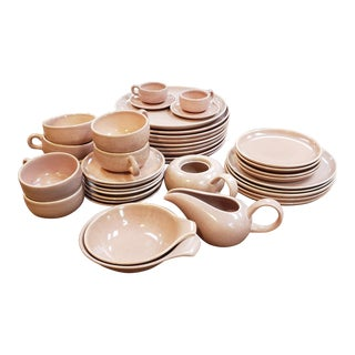 Russel Wright Coral Mid-Century Dinnerware - Set of 47 For Sale