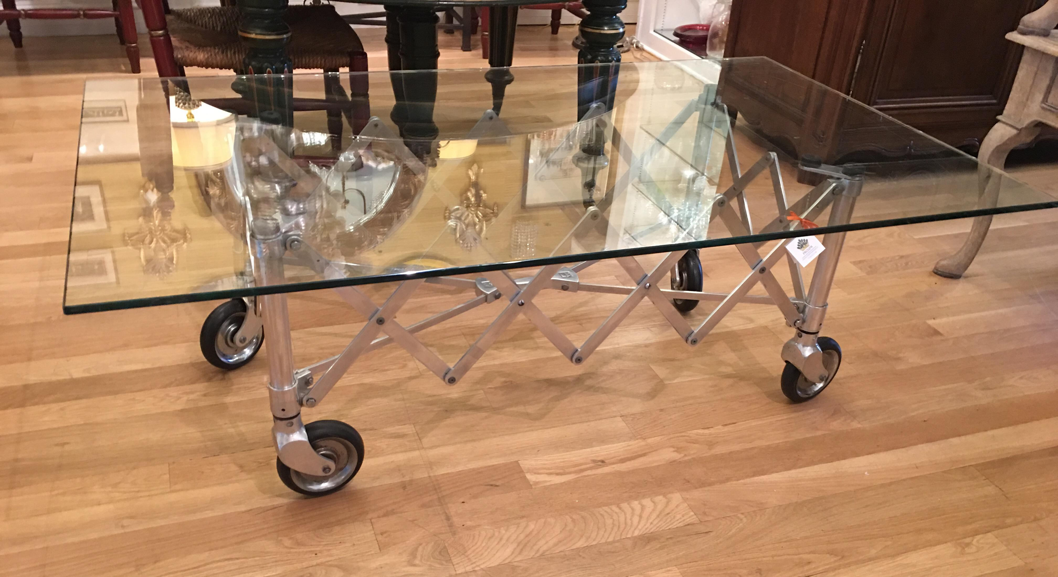 Modern Industrial Chic Aluminum Gurney Coffee Table   Image 2 Of 3