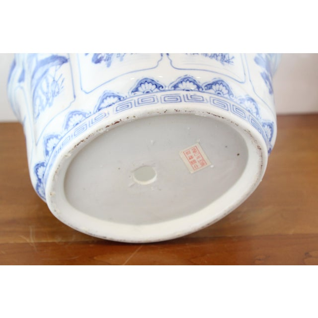 Chinese blue and white Lotus flower pattern porcelain planter.