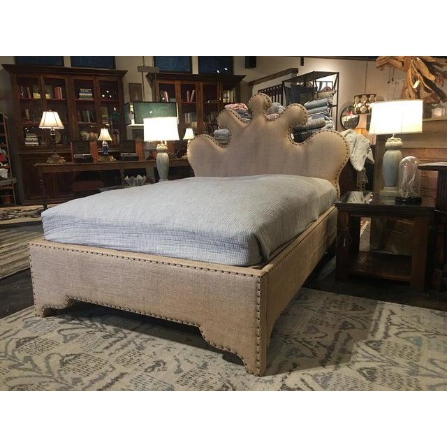 Noir Queen Burlap Bed For Sale - Image 9 of 10