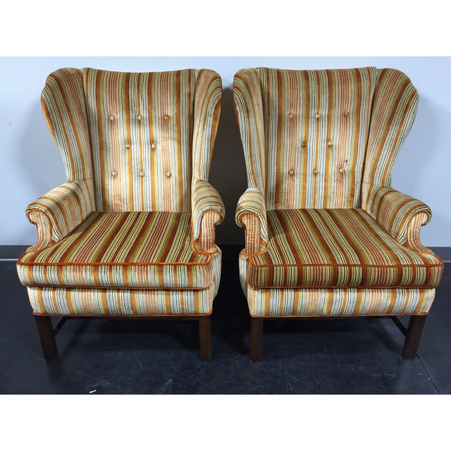 Vintage Mid-Century Tufted Wing Back Chairs - Pair - Image 2 of 11