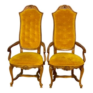 Vintage Italian Regency Style Hibreton Dining Arm Chairs - a Pair For Sale