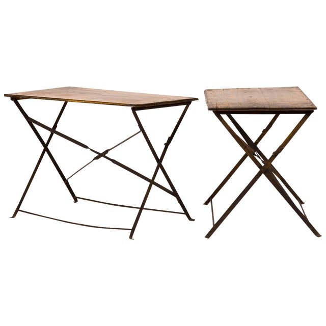 Pair of Early 20th Century British Campaign Wood and Iron Folding Tables For Sale