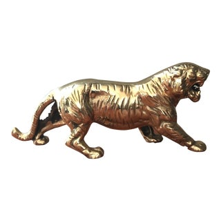 Vintage Mid-Century Brass Prowling Tiger Figurine For Sale