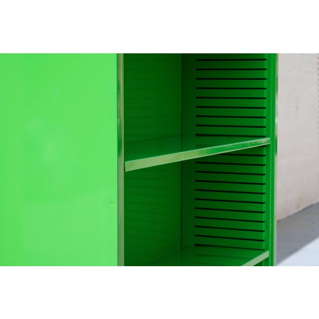 1970s Tall Steel Tanker Bookcase, Refinished in Lime Green, Custom Order For Sale - Image 4 of 5