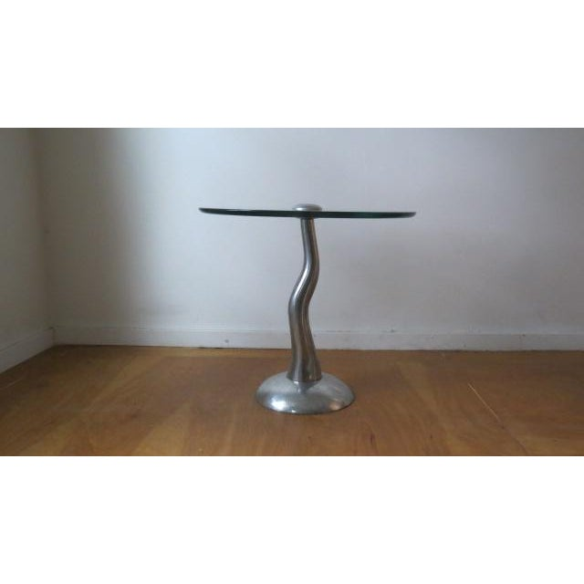 1980s Modern Aluminum and Glass Side Table For Sale In Chicago - Image 6 of 6