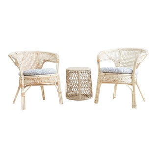Pair of Whitewashed Rattan Armchairs and Side Table For Sale