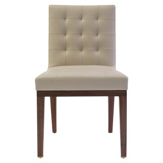 Tufted and Buttoned Side Chair Covered in Tan Leather With Medium Oak Wood Legs For Sale
