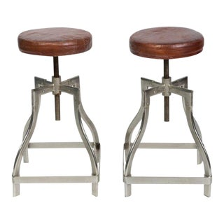 Industrial Adjustable Stools with Leather Seats - A Pair