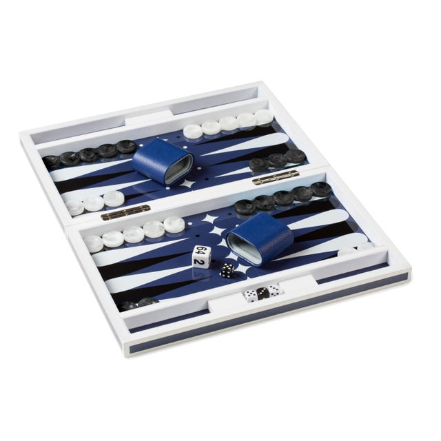 Modern Lacquer Backgammon Set in White and Blue For Sale - Image 3 of 3