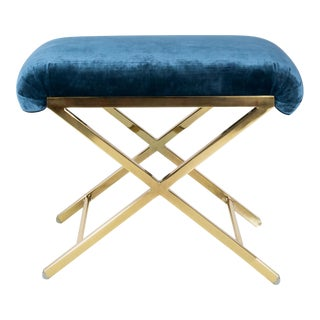 1970s Polished Brass Velvet Upholstered X-Bench For Sale