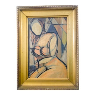 Cubist Portrait of Nude Female Oil Painting For Sale
